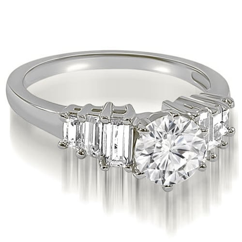 1.35 cttw. 14K White Gold Round and Baguette cut Diamond Engagement Ring