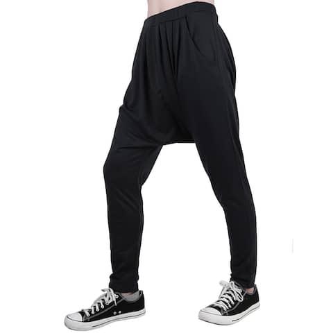 Unique Bargains Men's Elastic Waist Slant Pockets Tapered Leg Baggy Harem Pants