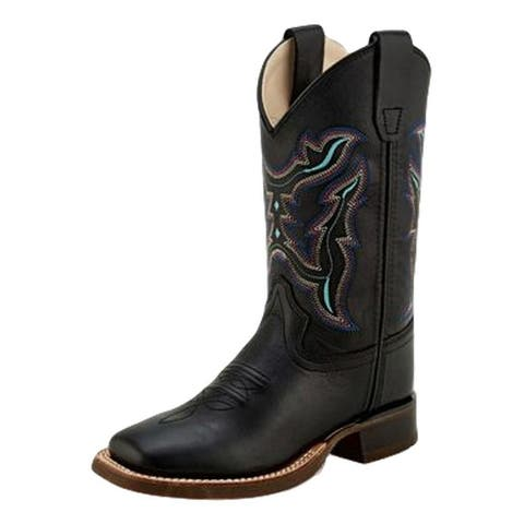 Old West Cowboy Boots Boys Pull On Corded Medallion Black