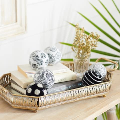 Black Ceramic Traditional Orbs & Vase Filler (Set of 6) - 3 x 3 x 3Round