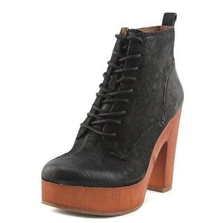 Lucky Brand Tafari Women Open Toe Leather Black Platform Heel