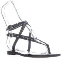Nine West Simcha Flat Double Buckle Strap Sandals, Black - 7.5 us