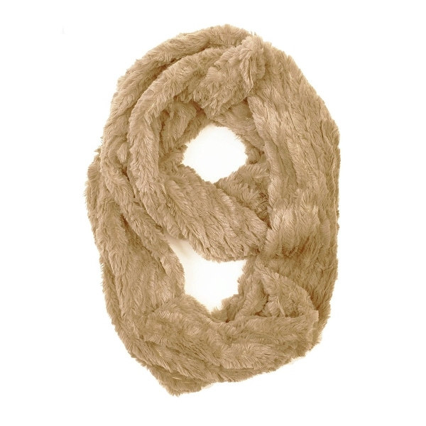 "Super Soft Faux Synthetic Fur Warm Infinity Loop Circle Scarf - d. beige - one size: 6"" wide, 62"" around"