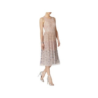 Adrianna Papell Womens Petites Semi-Formal Dress Sleeveless Tea-Length - 10