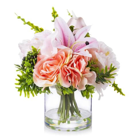 Enova Home Mixed Artificial Silk Roses and Lily Fake Flowers Arrangement in Clear Glass Vase for Home Office Decoration