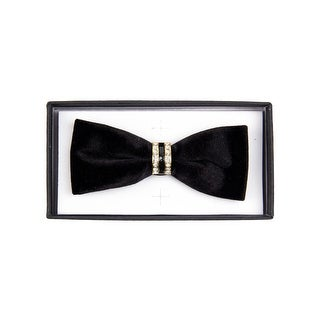 Men's Solid Color Velvet Pre-tied Adjustable Length Bow Tie with Rhinestone - One size