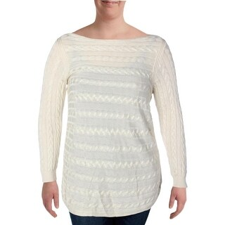 Ralph Lauren Womens Plus Pullover Sweater Cable Knit 3/4 Sleeves Ivory 2X