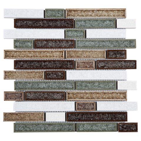 TileGen. Roman Art Mario Random Sized Ceramic in Beige/Green Wall Tile (10 sheets/9.6sqft.)