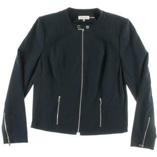 Calvin Klein Womens Mandarin Collar Solid Jacket