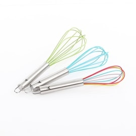 VECELO Colorful Silicone Wire Whisk Set of 3