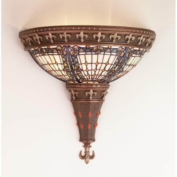 Meyda Tiffany 50241 Stained Glass / Tiffany Wall Washers Wall Sconce from the Fleur-de-lis Collection - tiffany glass