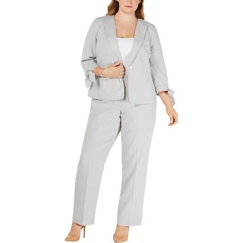 Le Suit Womens Plus Pant Suit Business Professional - White/Black - 20W