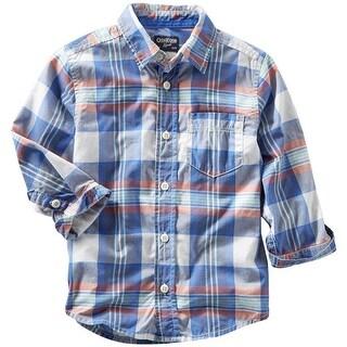 Osh Kosh Boys 2T-4T Woven Plaid Button Down Shirt - Blue