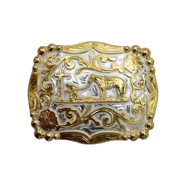 "Silver Strike Western Belt Buckle Mens Horse Cross Silver Gold - 4 1/2"" x 3 1/4"""