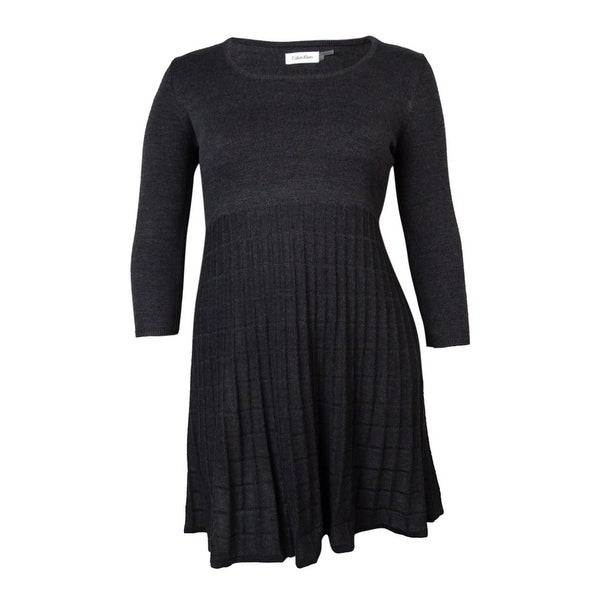 Calvin Klein Women's Scoop Neck Grid-Knit Sweater Dress
