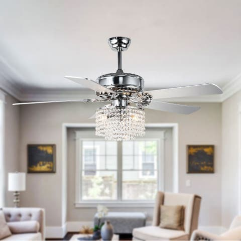 """52"""" Chrome Crystal Drum Shade Reversible Ceiling Fan with 5 Blades"""