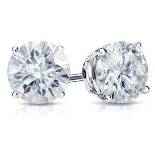 Auriya Platinum 2ctw Bezel-set Round Moissanite Stud Earrings - 6.5 mm, Push-Backs