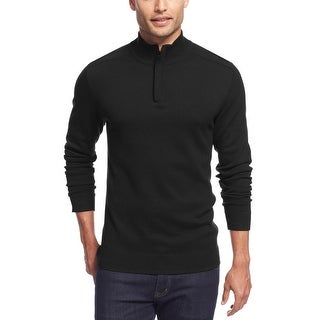 Alfani Black Label Regular Fit Quarter Zip Sweater Deep Black X-Large