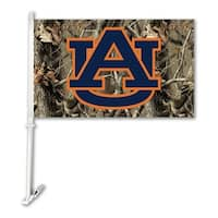 Bsi Products Inc Auburn Tigers Car Flag With Wall Brackett - Realtree Camo Background Flag