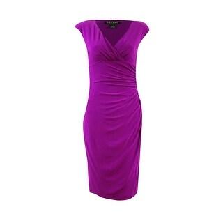 Lauren Ralph Lauren Women's Pleated Ruche Jersey V-Neck Dress - Fuschia