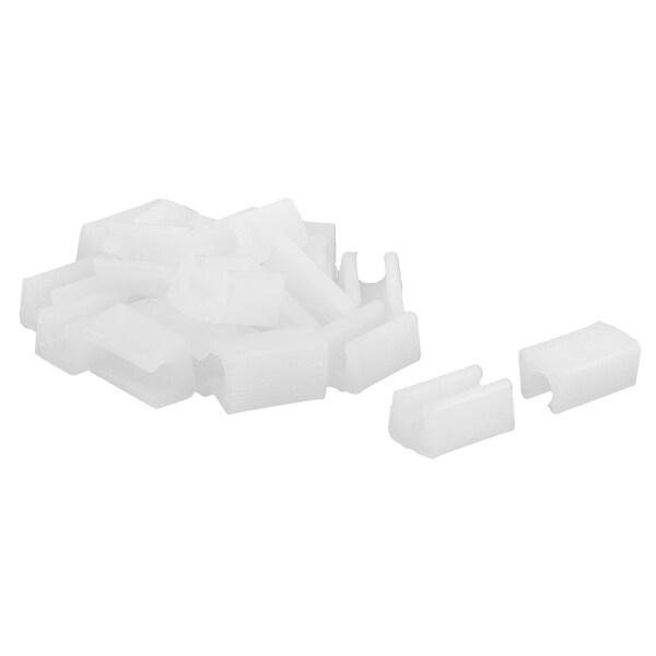Unique Bargains 20 Pcs Antislip Plastic U Shape 10mm Chair Foot Cover Table Furniture Leg Protector White