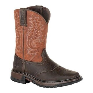 "Rocky Children's 8"" Ride FLX Western Boot RKW0257C Dark Chocolate/Burnt Orange Leather/Synthetic"