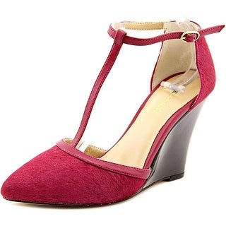Sole Society Jolie Women Open Toe Suede Burgundy Wedge Heel