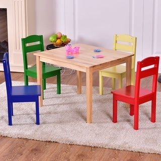 Shop Costway Kids 5 Piece Table Chair Set Pine Wood Multicolor ...
