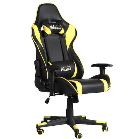VECELO Gaming High Back Computer Racing Ergonomic Adjustable Swivel Chair With Footrest(4 Color Option)
