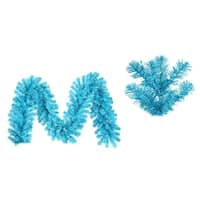 "9' x 12"" Pre-Lit Sparkling Sky Blue Artificial Christmas Garland - Blue Lights"