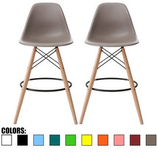 """2xhome Set of Two (2) Grey 25"""" Eames Style Armless Bar Stool Chair With Dowel Natural Wood Eiffel Style Legs"""