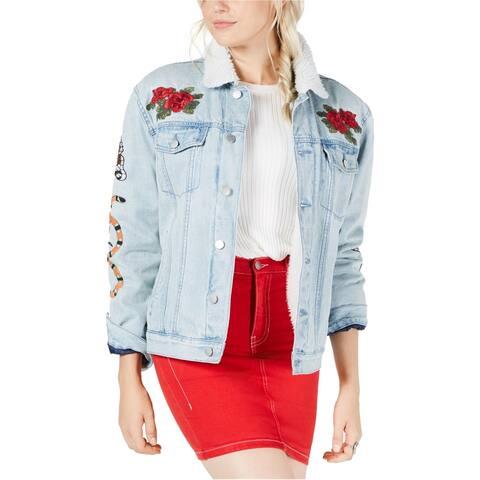 Kendall Kylie Womens Fleece Lined Jean Jacket, Blue, Small