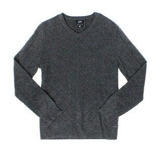 Alfani NEW Gray Mens Size Large L V-Neck Diamond Pattern Wool Sweater