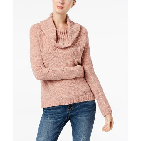 INC International Concepts Women's Cowl-Neck Chenille Sweater Pink Size Large