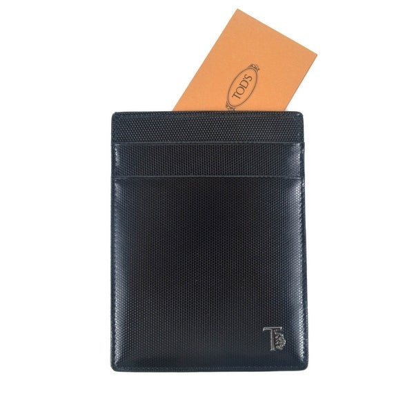 Tods Mens Black Polished Grained Leather Card Organizer