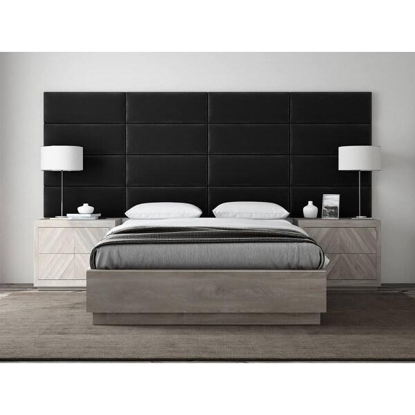 VANT Upholstered Headboards - Accent Wall Panels - Plush Velvet Black - Full-Queen Headboard - Set of 4 panels