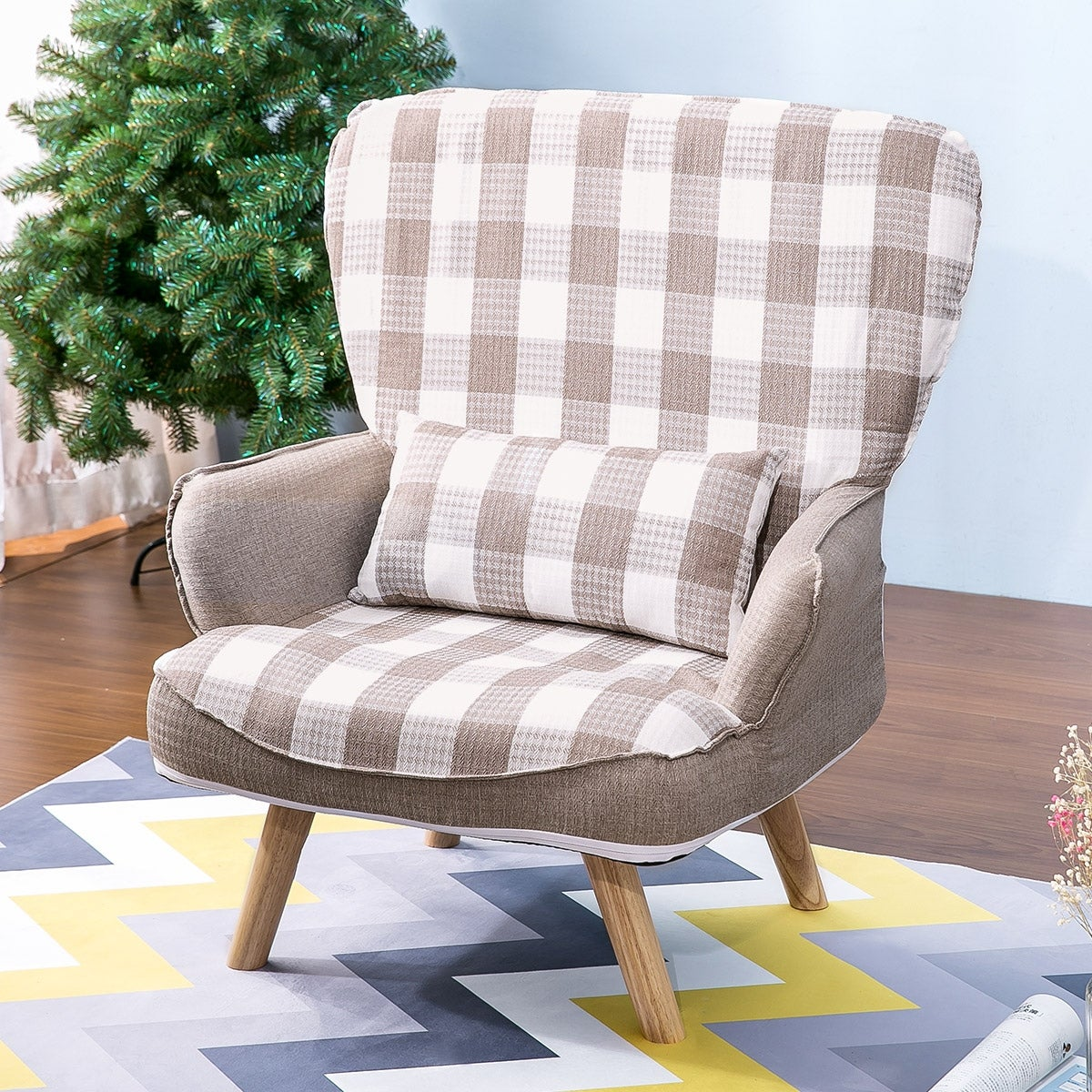 Grid Fabric Armchair Accent Chair Living Room Furniture