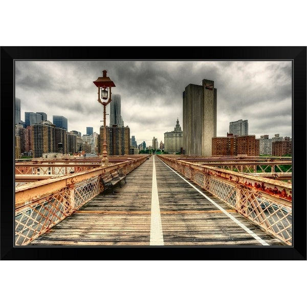 """View of New York skyline from Brooklyn Bridge."" Black Framed Print"