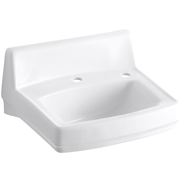 "Kohler K-2031-NR Greenwich 15"" Wall Mounted Bathroom Sink with 2 Holes Drilled - White"