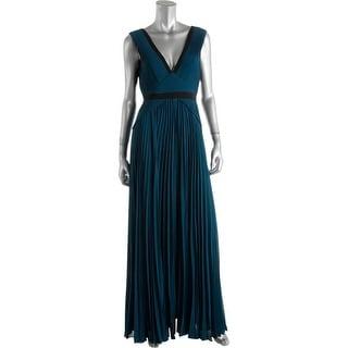 BCBG Max Azria Womens Evianna Evening Dress Pleated Contrast Trim