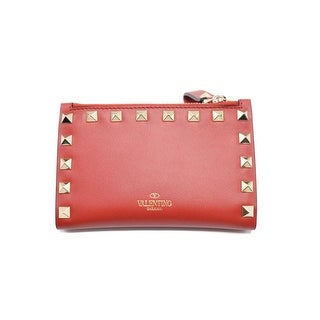 Valentino Womens Rockstud Leather Red Wallet cardholder Pouch