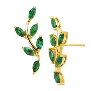 2 ct Natural Emerald Leaf Climber Earrings in 10K Gold - Green