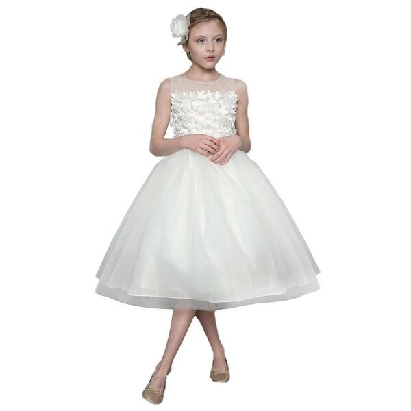 21810f929e5f1 Girls Ivory 3D Flowers Bow Illusion Neck Junior Bridesmaid Dress