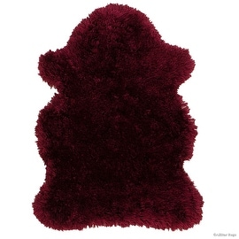"Allstar Burgundy Rug, High Quality Faux Sheep / Polar Bear Shape, No-Shedding, Ultra-Extended Pile Height Shag (2' 11"" x 3' 11"")"