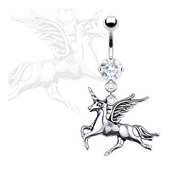 "Navel Belly Button Ring with Prong CZ Unicorn Dangle - 14GA 3/8"" Long"