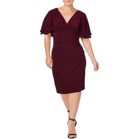 Lauren Ralph Lauren Womens Petites Mildia Wrap Dress V-Neck Cocktail