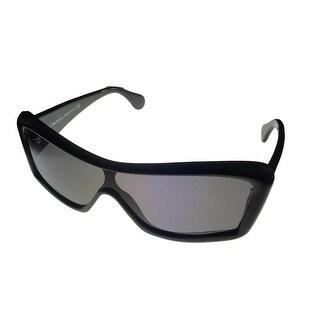 John Galliano Sunglass JG04 1A Black Modifed Cat Plastic Fashion, Smoke Lens - Medium