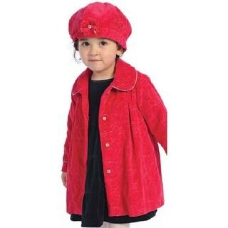 Angles Garment Toddler Little Girls Red Floral Swing Coat Hat Set 2T-8