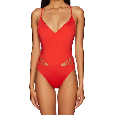 Kenneth Cole Red Women's Size Large L One-Piece Strappy Swimwear