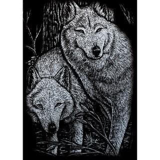"""Silver Foil Engraving Art Mini Kit 5""""X7""""-Prowling Friends"""